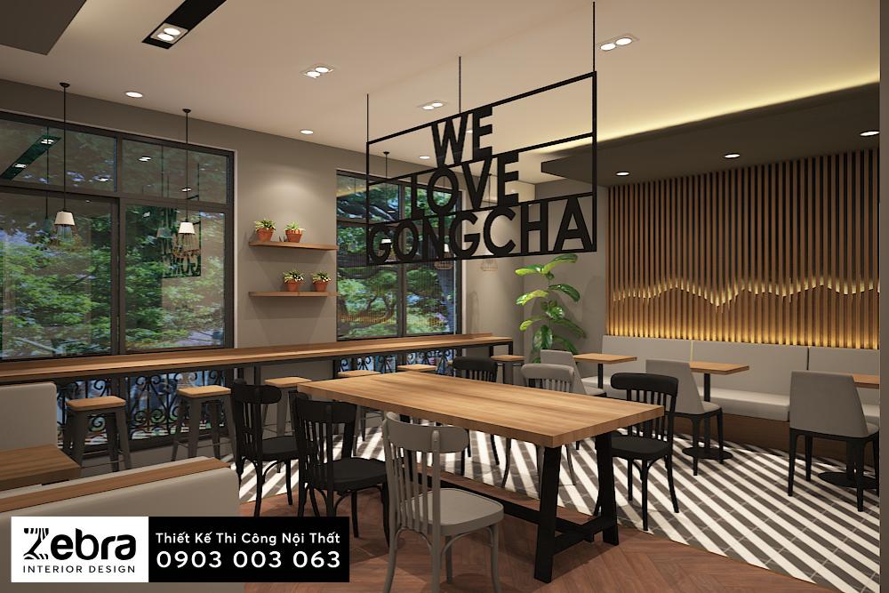 thiết kế nội thất trà sữa gongcha cần thơ