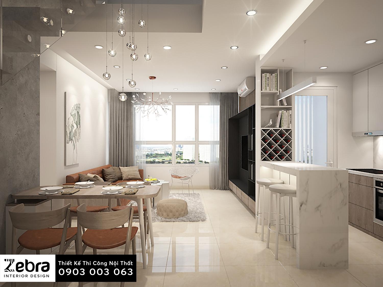 thiết kế nội thất phòng khách căn hộ