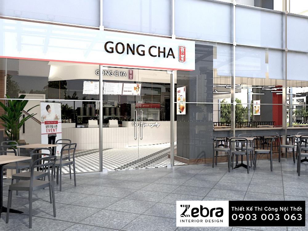 thiết kế nội thất trà sữa gongcha hồ bán nguyệt
