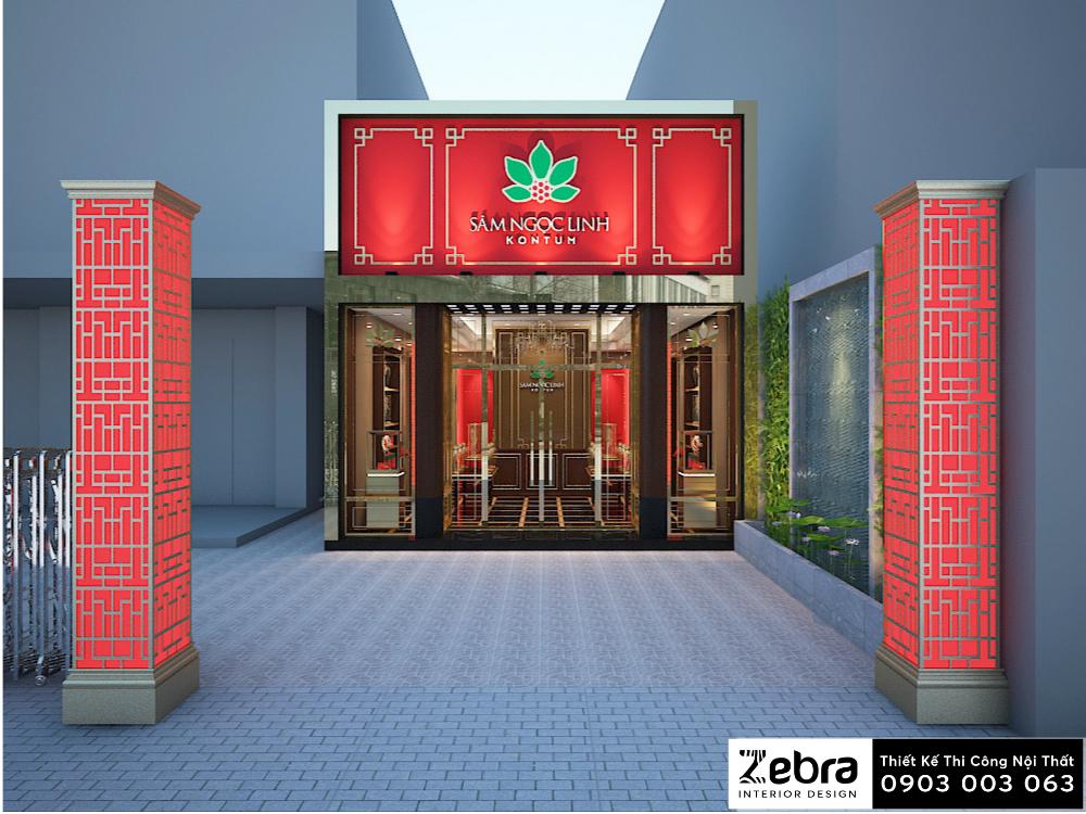 thiết kế nội thất cửa hàng sâm ngọc linh