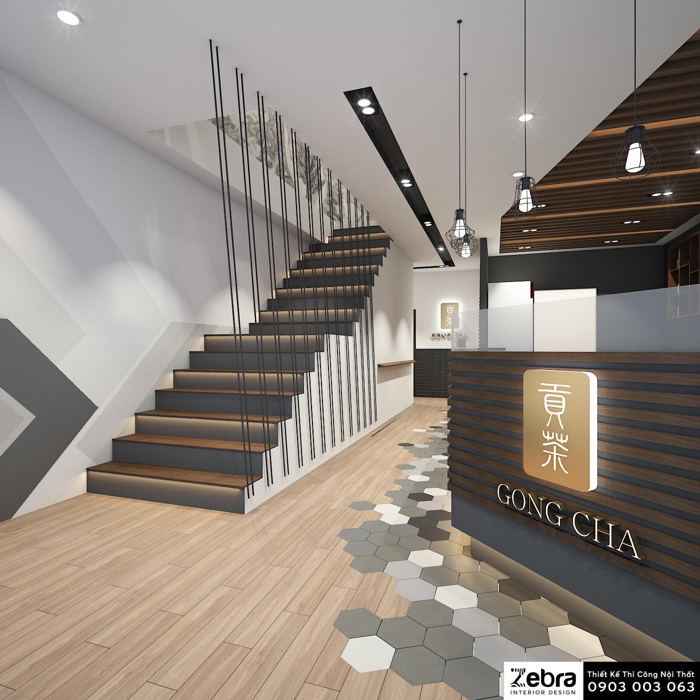 thiết kế nội thất quán trà sữa gongcha masteri thảo điền